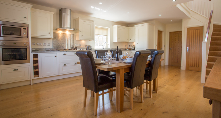 kitchen at Hermitage Cottage, luxury holiday cottage for families Warkworth, cottages with wood burning stoves Warkworth