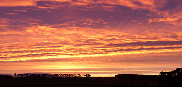 sunset view from The Shiel, cottages with good views in northumberland