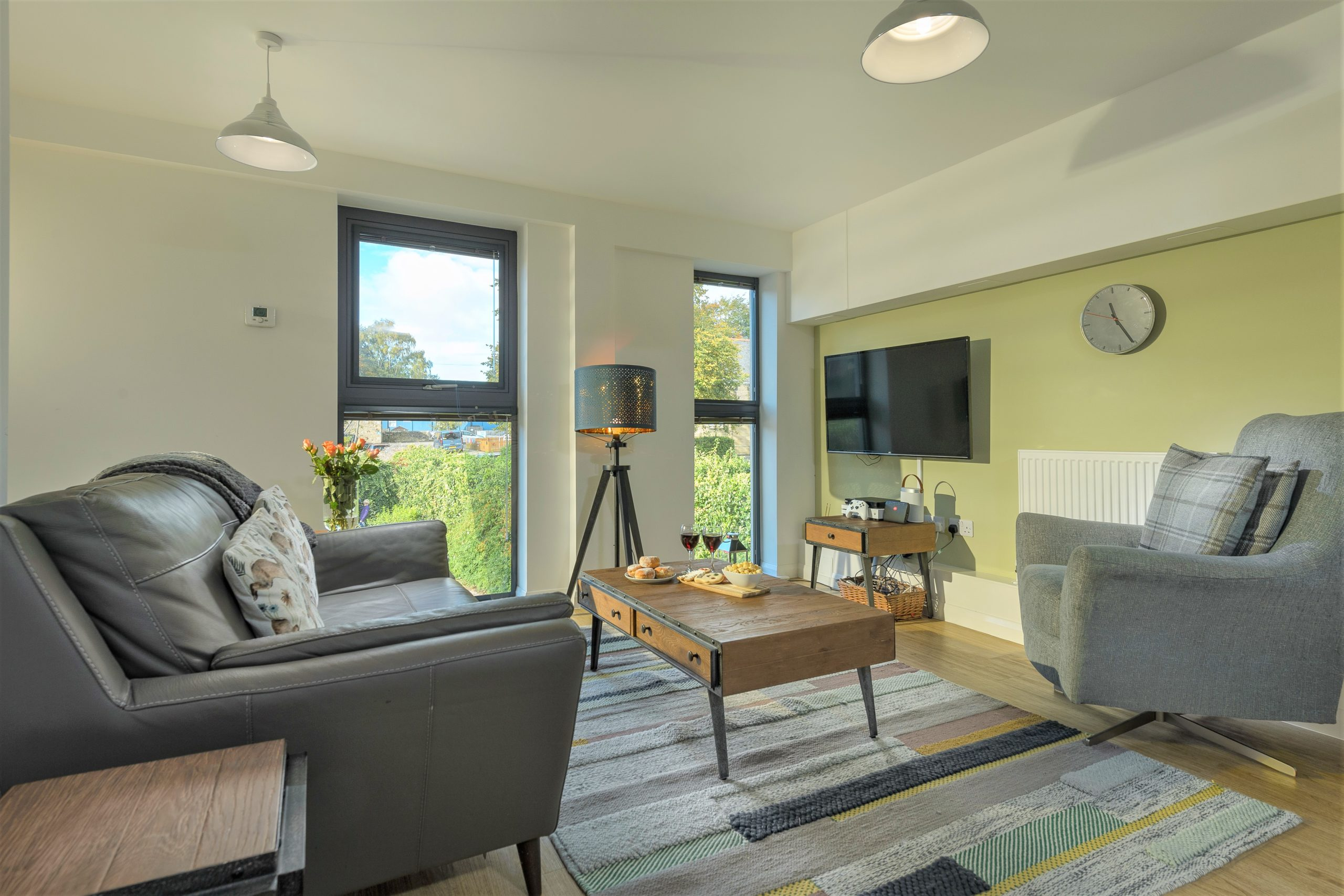 cosy lounge at the baker's dozen 5 star luxury accommodation in alnwick views of the castle and gardens northumberland beach and sea harbour