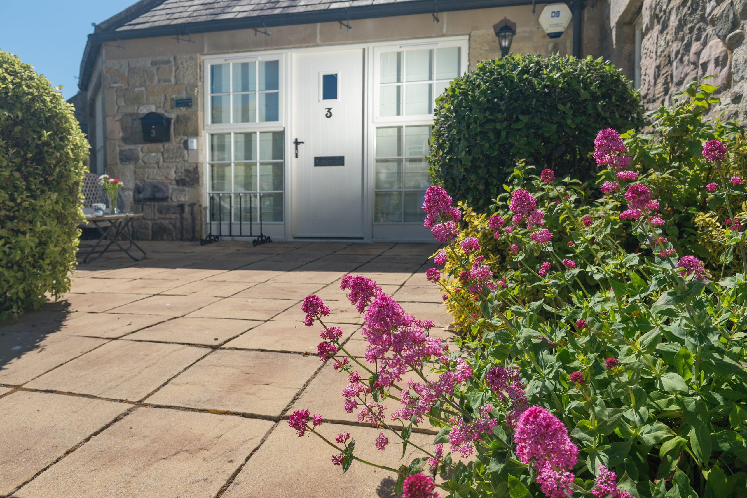 gardens at coastal holiday cottage in Northumberland