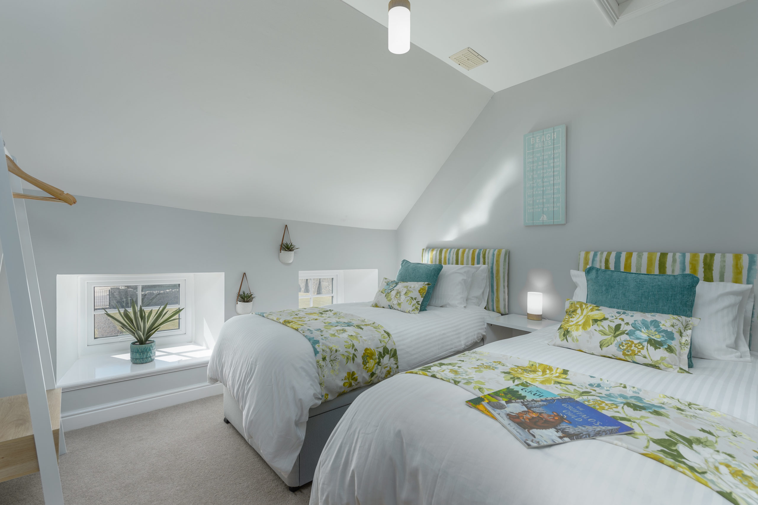 twin bedroom at the oystercatcher beadnell northumberland seaside harbour beach coastal holiday cottage luxury